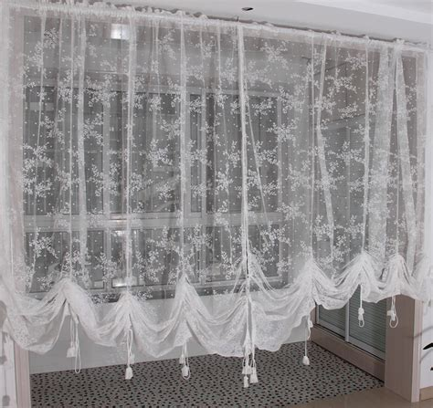 Embroidered Valance Partition Customize White Lace Gauze