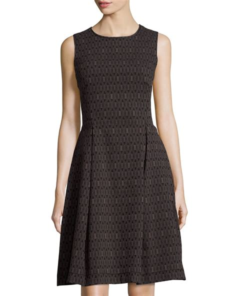 tile dress lyst max studio tile print jacquard dress in black