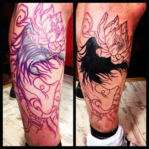 freehand tattoo freehand coverup japanese hannya mask snake
