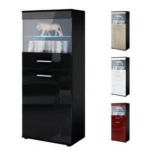 Gloss Display Cabinet Display Cabinet Glass Unit Almada Black High Gloss