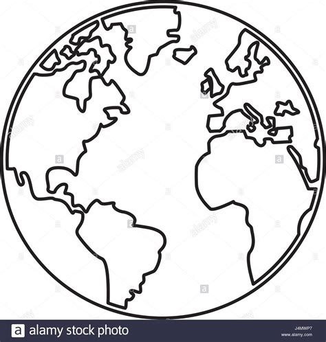 The Globe Outline by World Map Earth Globes Cartography Continents Outline Stock Vector Illustration Vector