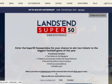 Sweepstakes Ending Tomorrow - the lands end super 50 sweepstakes