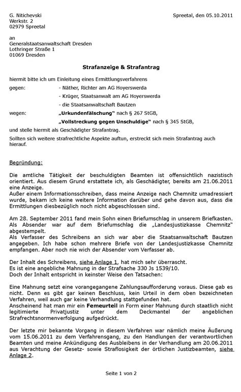 Reklamation Urlaub Brief Strafanzeige Und Strafantrag Gegen Einen Richter Und Staatsanwalt Volksbetrug Net