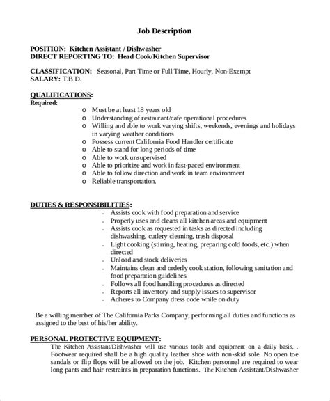 Sample Resume For Kitchen Hand by Sample Dishwasher Job Description 8 Examples In Pdf Word