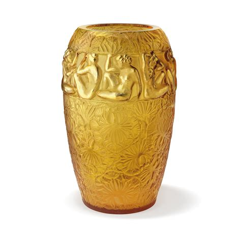 Engraved Vase Ang 233 Lique Vase Limited Edition 99 Pieces Amber