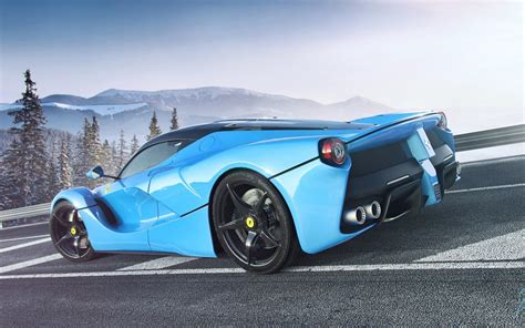blue ferrari wallpaper blue ferrari laferrari on a mountain road wallpapers and