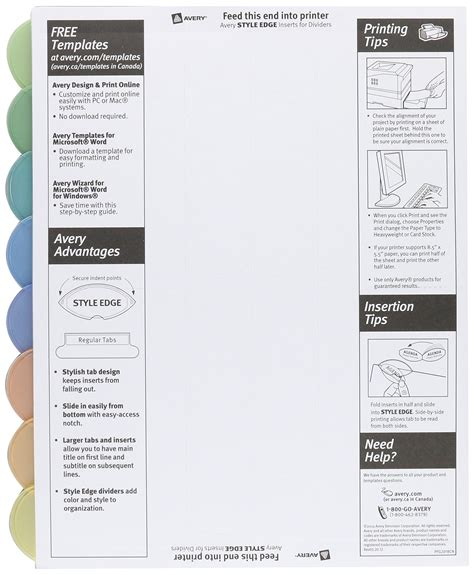 avery templates 11201 save 37 avery insertable style edge plastic dividers