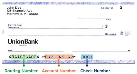 bank routing number ordering personal or business checks union bank
