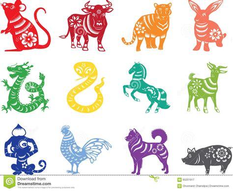 new year animal colors zodiac twelve animals stock vector illustration