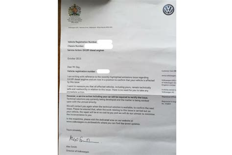 Volkswagen Customer Letter Volkswagen Writes To Owners Of Cars Affected By Emissions