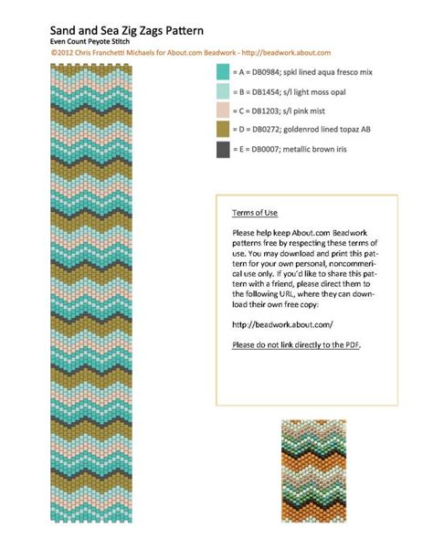 zig zag peyote pattern sand and sea zig zags peyote stitch bracelet patternsea