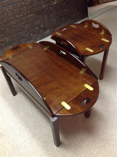mahogany butlers coffee table and end table by bombay co