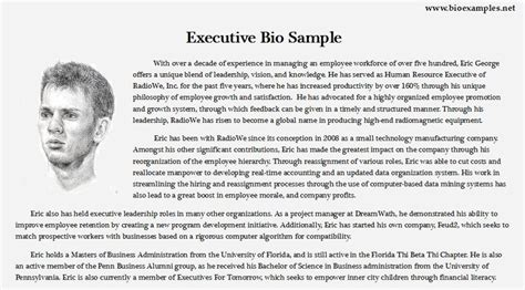bio exles for executives executive bio exle bio exles pinterest