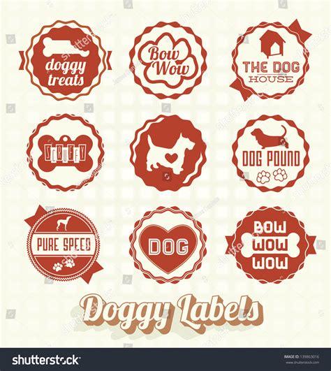 vector set vintage pet doggy labels stock vector 139863016