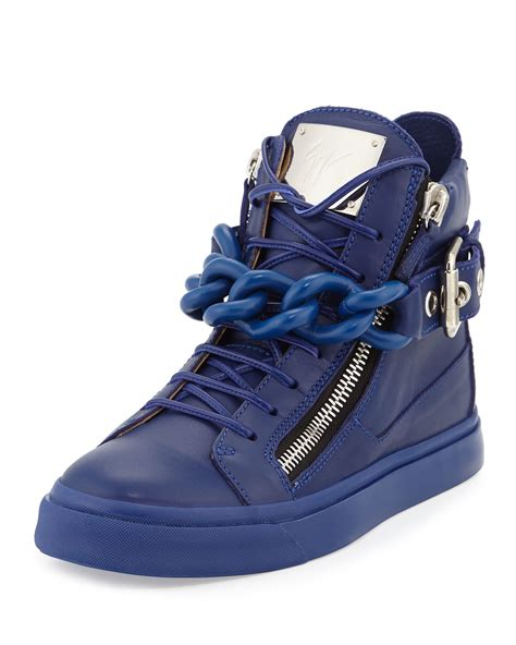 blue giuseppe sneakers giuseppe zanotti chain leather high top sneakers in blue