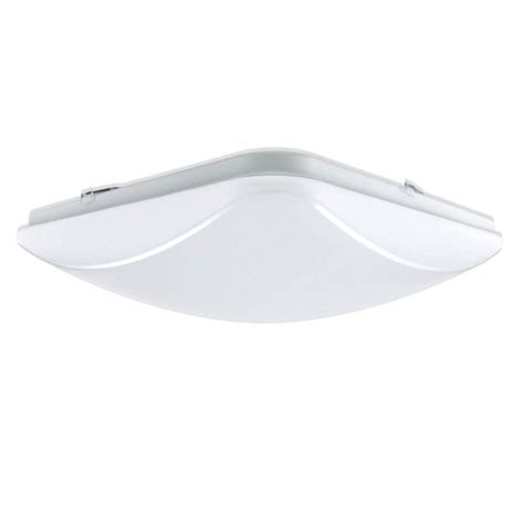 Home Depot Led Ceiling Lights Hton Bay 14 In 1 Light Brushed Nickel Led Square Ceiling Flushmount 54619141 The Home Depot
