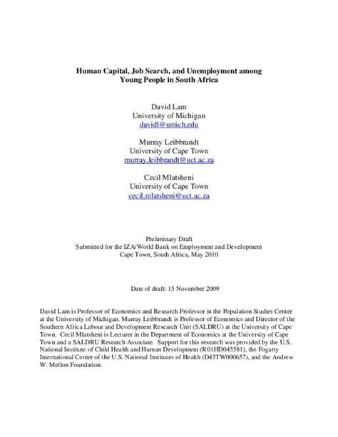 human capital job search  unemployment