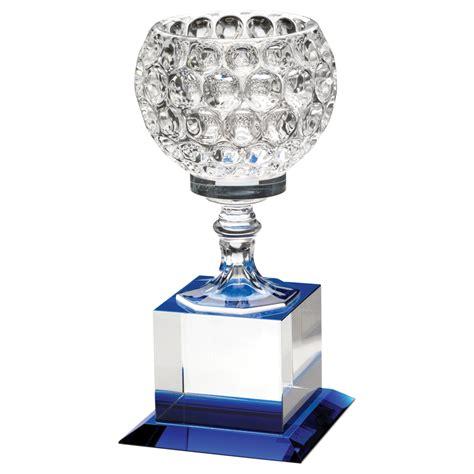 Wedding Trophy 1 8 5 quot clear blue glass golf award trophy