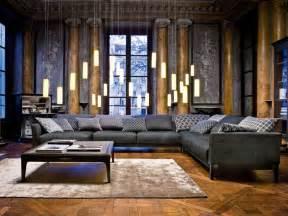 Superb Canape Roche Et Bobois #11: Meubles-salon-canap%C3%A9-gris-coussins-suspensions-%C3%A9l%C3%A9gantes.jpg