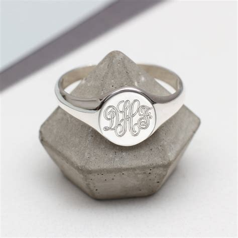 mens sterling silver monogram oval signet ring by