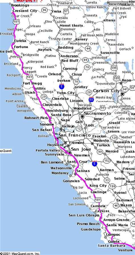 california map hwy 101 blip and clik here and there