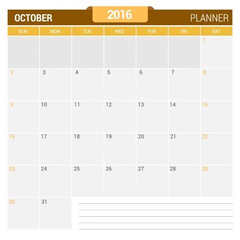Calendã Outubro 2016 October Calendar 2016 Vector Free