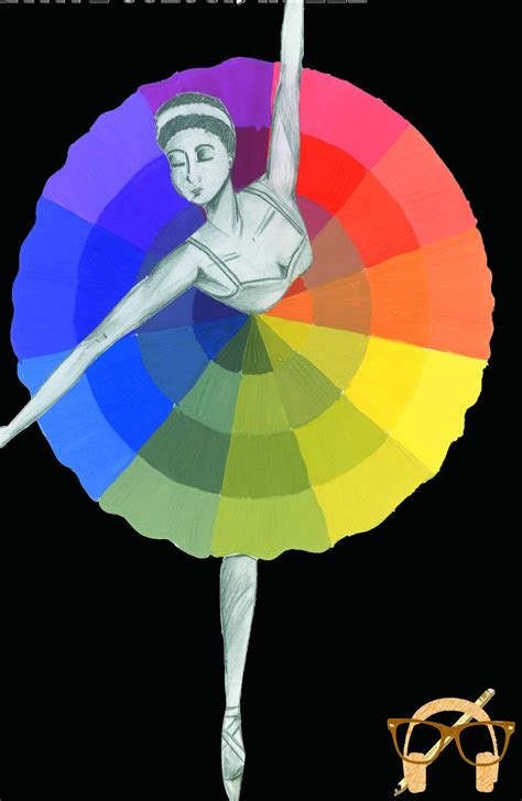 creative color wheel dancing on the color wheel empty white pages