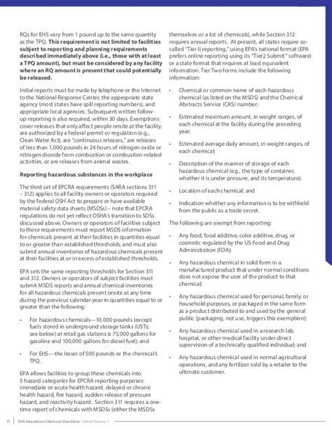 epcra section 304 hazardous chemicals checklists ebook volume 1