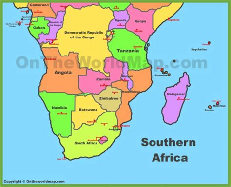 printable road map of southern africa southern africa