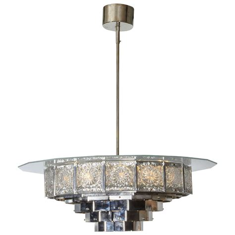 Mid Century Modern Chandelier Lighting Large Mid Century Modern 16 Sided Glass And Nickel Chandelier At 1stdibs