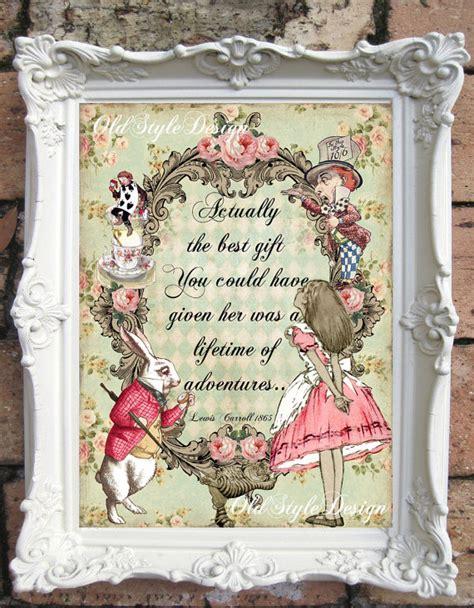 Alice In Wonderland Printable Decorations by Alice In Wonderland Print Alice In Wonderland Decor Vintage