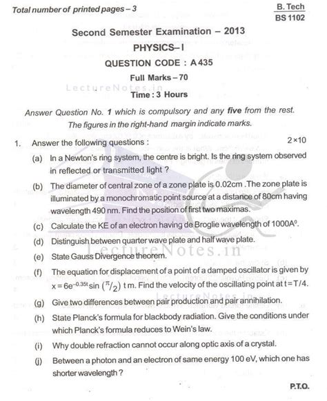 Exam Questions For Applied Physics Phy Bput 2013 2nd