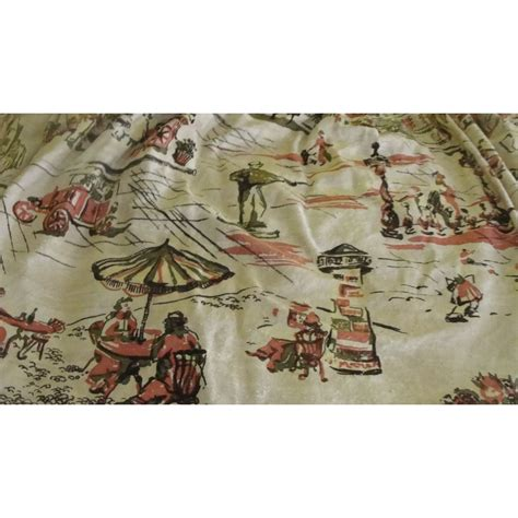 barkcloth drapes mid century west bank print barkcloth pinch pleated drapes