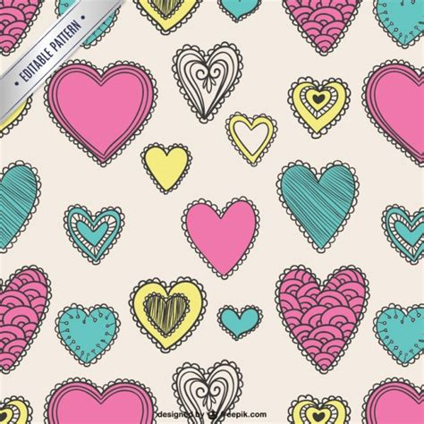cute valentine pattern cute valentine pattern in hand drawn style vector free