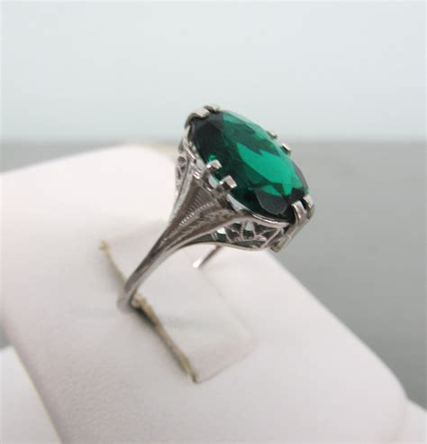 emerald engagement ring deco ring 10k by