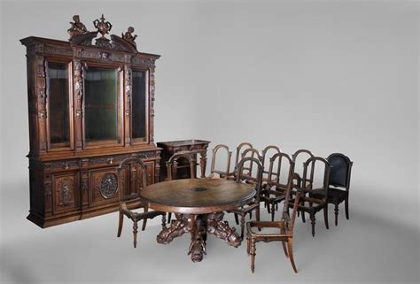 Antique Walnut Dining Room Set by Beautiful Antique Carved Walnut Wood Dining Room Set By