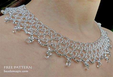 net necklace pattern free pattern for necklace silver net beads magic