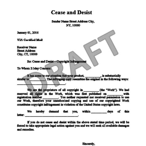 Cease And Desist Letter C D Create A Cease Desist Trademark Infringement Cease And Desist Letter Template