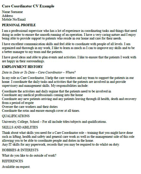 Sample Outside Sales Resume by Care Coordinator Cv Example Icover Org Uk