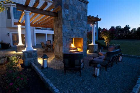 sided fireplace outdoor pea gravel seating area with sided outdoor