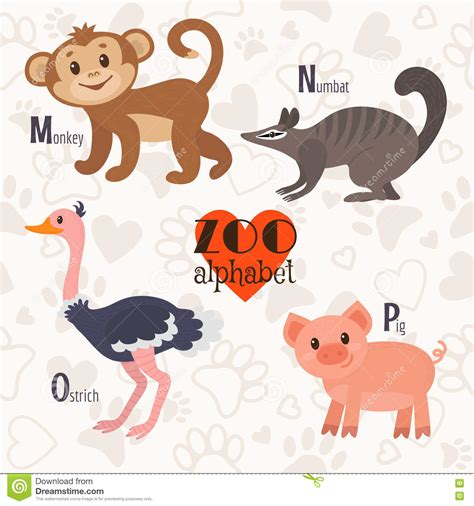 zoo alphabet  funny animals    p letters monkey num stock vector illustration