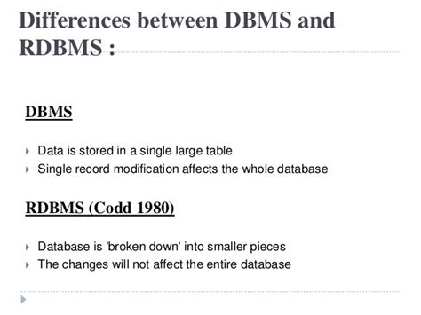 what is the difference between dbms and rdbms rdbms