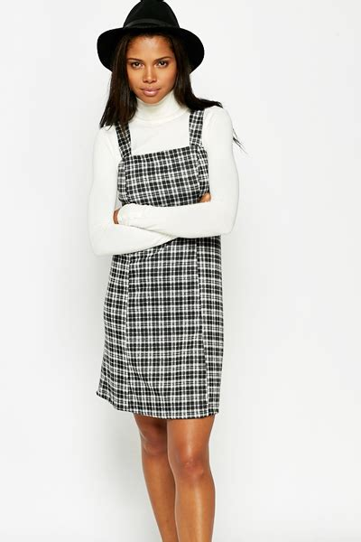 Checked Pinafore Dress black checked pinafore dress just 163 5