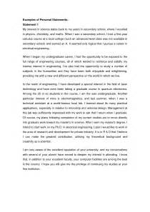 Personal Statement For College Template by Sle Personal Statement For Msc Admission Cover Letter
