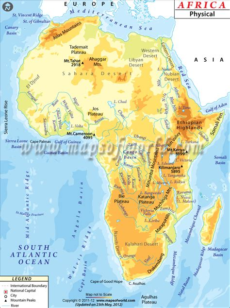 map of africa deserts africa physical map more about africa mapsofworld