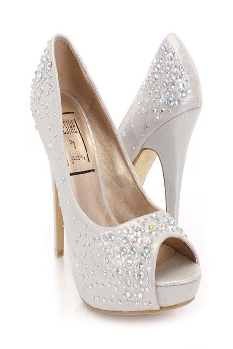 silver shimmery rhinestone heels amiclubwear heel