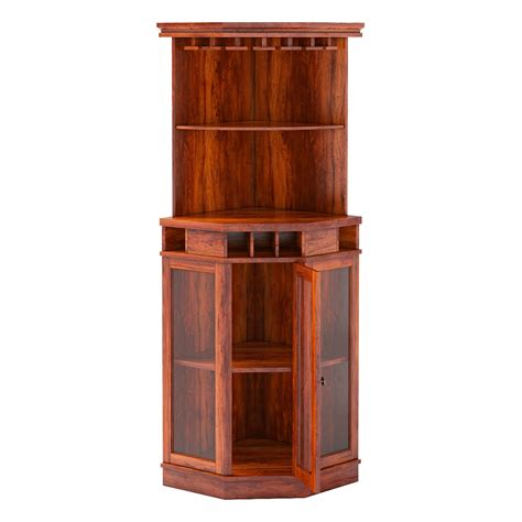 bar hutch griffin glass door solid rosewood corner wine bar cabinet