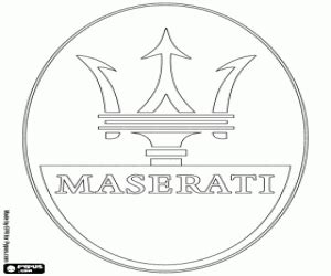 maserati logo drawing car brands coloring pages printable 2