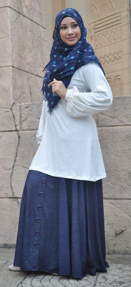 Tunik Waniata Muslim Setiana Tunic Muslimah White Blouse And Denim Skirt Me Style