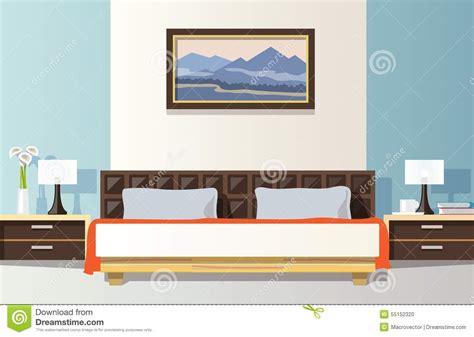 bedroom interior banners set in flat style vector flat bedroom design in retro colors vector background